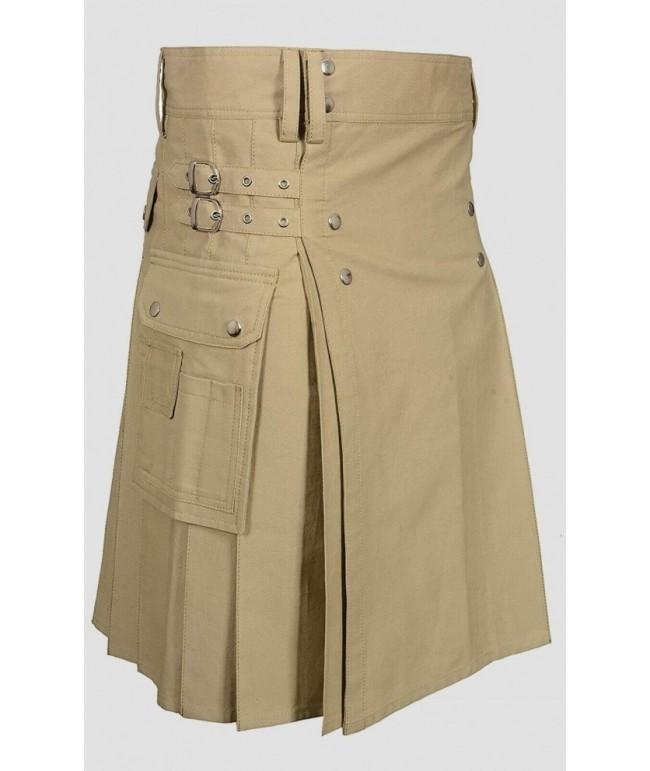 Khaki Utility Kilt with Round pockets For Men
